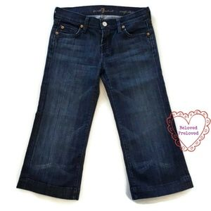 7 For All Mankind Crop Dojo Capri Blue Jeans 7FAM